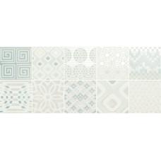 Декоративная плитка Novabell Milady Preinciso Patchwork White Mint 25x60 см, толщина 10 мм