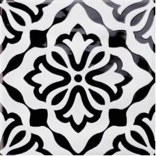 Декоративная плитка Quintessenza Genesi26 Antracite Lucido Deco 4 13.2x13.2 см, толщина 10 мм