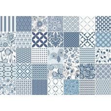 Декоративная плитка Vallelunga Colibri Colibri Comp Blu 62.5x87.5 см, толщина 8 мм