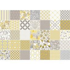 Декоративная плитка Vallelunga Colibri Colibri Comp Giallo Grigio 62.5x87.5 см, толщина 8 мм