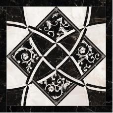 Декоративная плитка Versace Emote Bianco Nero Intarsio 78x78 см, толщина 10 мм